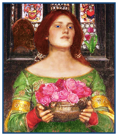 Gather Ye Rosebuds Detail inspired by John William Waterhouse Counted Cross Stitch Pattern DIGITAL DOWNLOAD