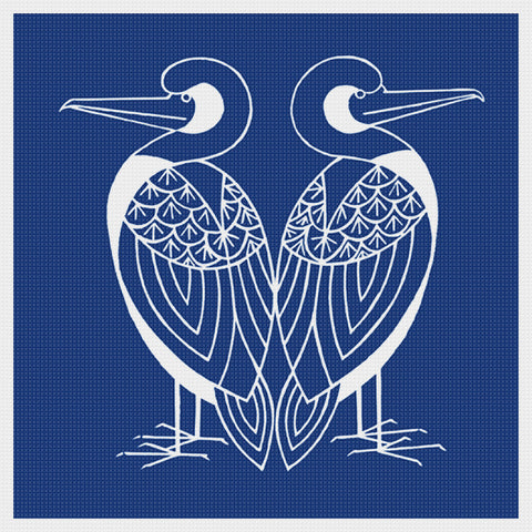 Asian Indigo 2 Birds #3 Folk Art *2 DMC Colors** Counted Cross Stitch Pattern