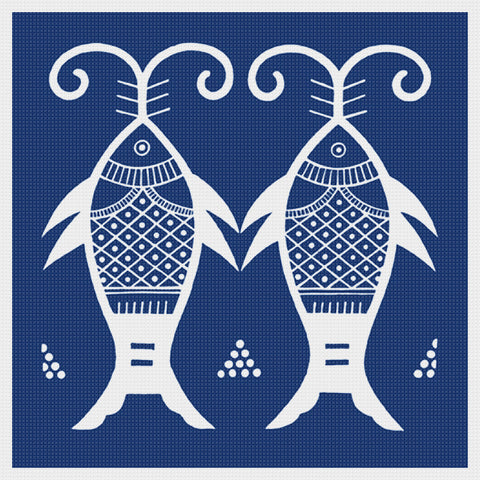 Asian Indigo 2 Fish Folk Art Design *2 DMC Colors** Counted Cross Stitch Pattern