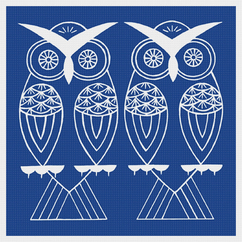 Asian Indigo 2 Owl Birds Folk Art *2 DMC Colors** Counted Cross Stitch Pattern