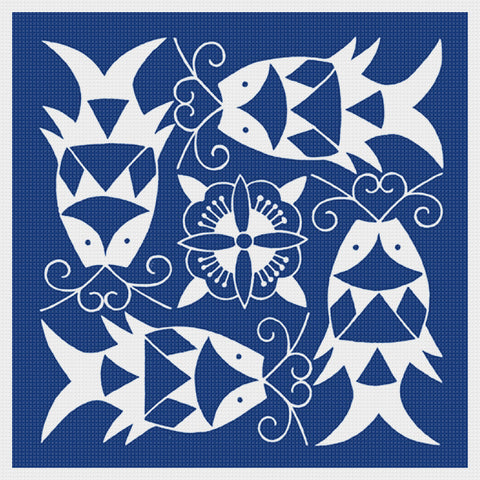 Asian Indigo 4 Fish Folk Art Design *2 DMC Colors** Counted Cross Stitch Pattern