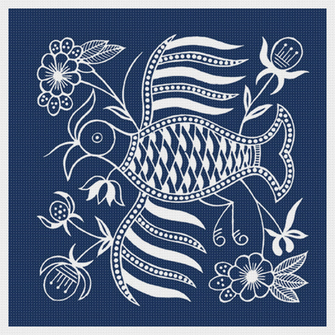 Asian Indigo Bird #5 Folk Art Design*2 DMC Colors** Counted Cross Stitch Pattern