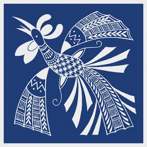 Asian Indigo Bird #6 Folk Art Design*2 DMC Colors** Counted Cross Stitch Pattern