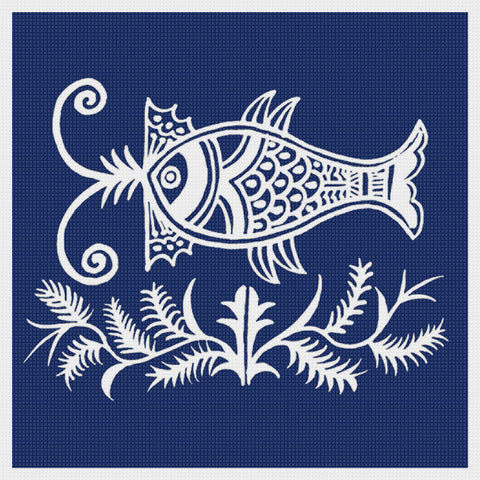 Asian Indigo a Fish Folk Art Design *2 DMC Colors** Counted Cross Stitch Pattern