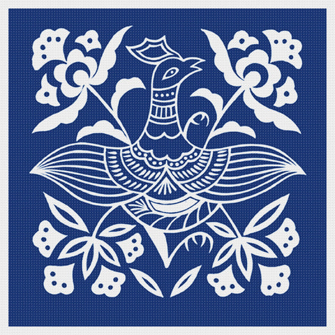 Asian Indigo Bird #4 Folk Art Design*2 DMC Colors** Counted Cross Stitch Pattern