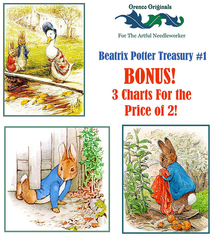 Beatrix Potter Deluxe Treasury#1-Three Counted Cross Stitch Patterns Charts
