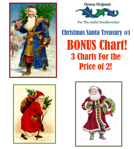 Christmas Santa Deluxe Treasury#1-Three Counted Cross Stitch Patterns Charts