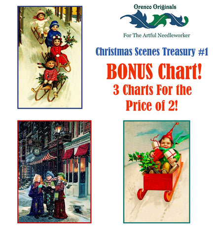 Christmas Scene Deluxe Treasury#2-Three Counted Cross Stitch Patterns Charts