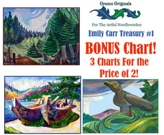 Emily Carr Deluxe Treasury# 1-Three Counted Cross Stitch Patterns Charts