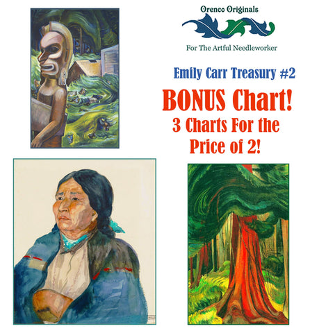Emily Carr Deluxe Treasury# 2-Three Counted Cross Stitch Patterns Charts