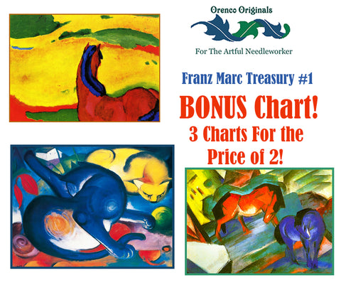 Franz Marc Deluxe Treasury#1-Three Counted Cross Stitch Patterns Charts