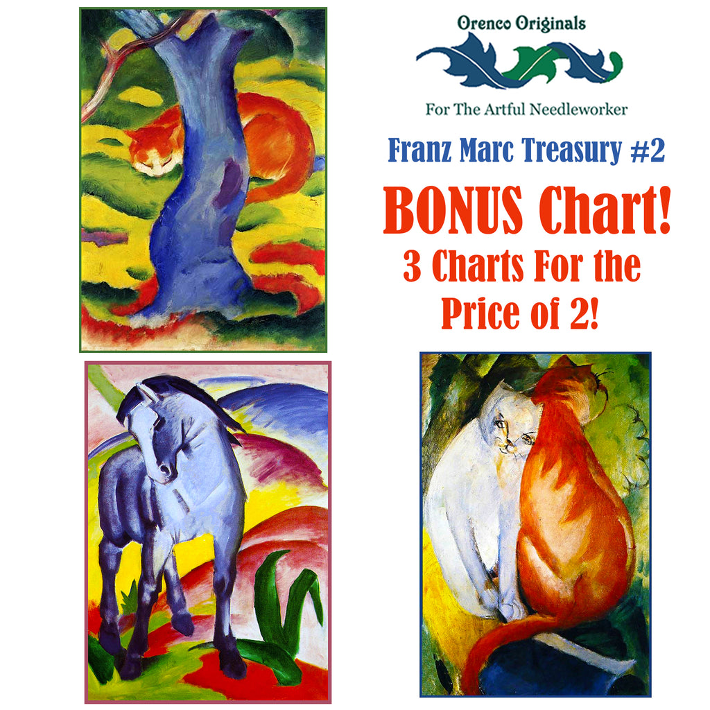 Franz Marc Deluxe Treasury#2-Three Counted Cross Stitch Patterns Charts