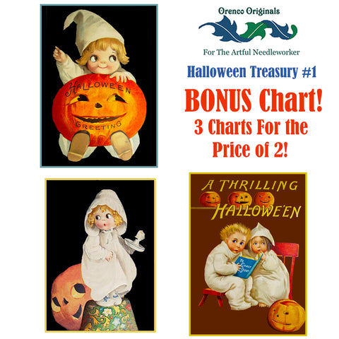 Halloween Deluxe Treasury#1-Three Counted Cross Stitch Patterns Charts