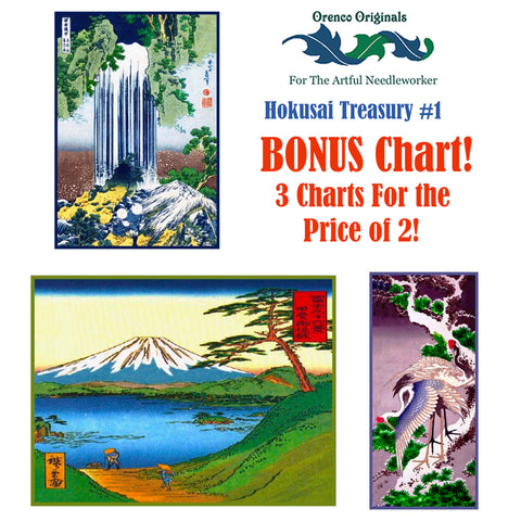 Asian Hokusai Deluxe Treasury#1-Three Counted Cross Stitch Patterns Charts