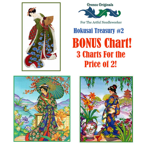 Asian Hokusai Deluxe Treasury#2-Three Counted Cross Stitch Patterns Charts