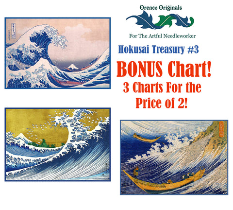 Asian Hokusai Deluxe Treasury#3-Three Counted Cross Stitch Patterns Charts