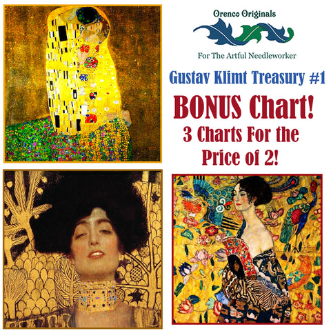 Gustav Klimt Deluxe Treasury #1 -Three Counted Cross Stitch Patterns