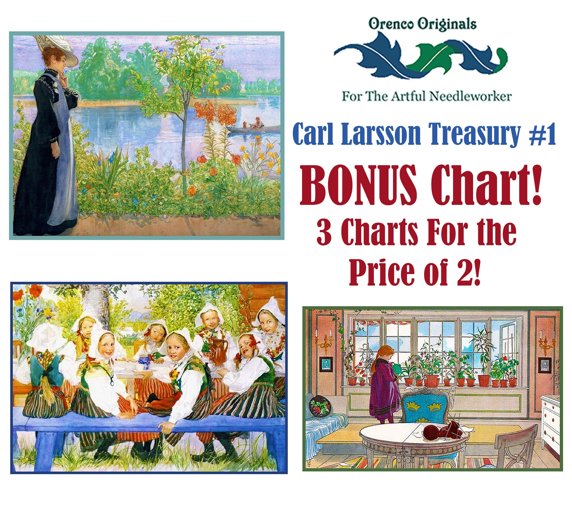 Scandinavian Carl Larsson Backyard Celebration Counted Cross Stitch Pattern