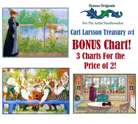 Carl Larsson Deluxe Treasury#1 -Three Counted Cross Stitch Patterns