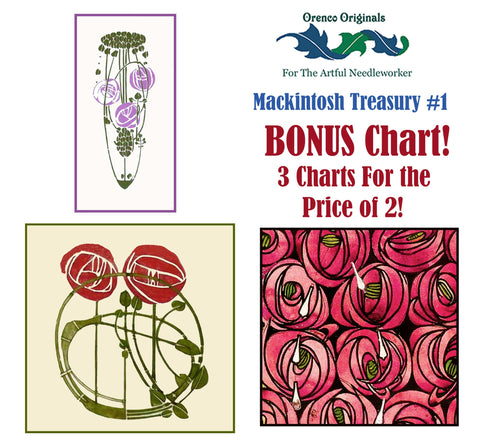 Charles Rennie Mackintosh Deluxe Treasury #1 -3 Counted Cross Stitch Patterns