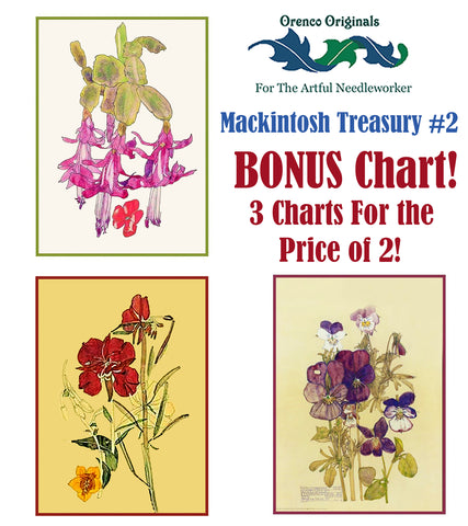 Charles Rennie Mackintosh Deluxe Treasury #2 -3 Counted Cross Stitch Patterns
