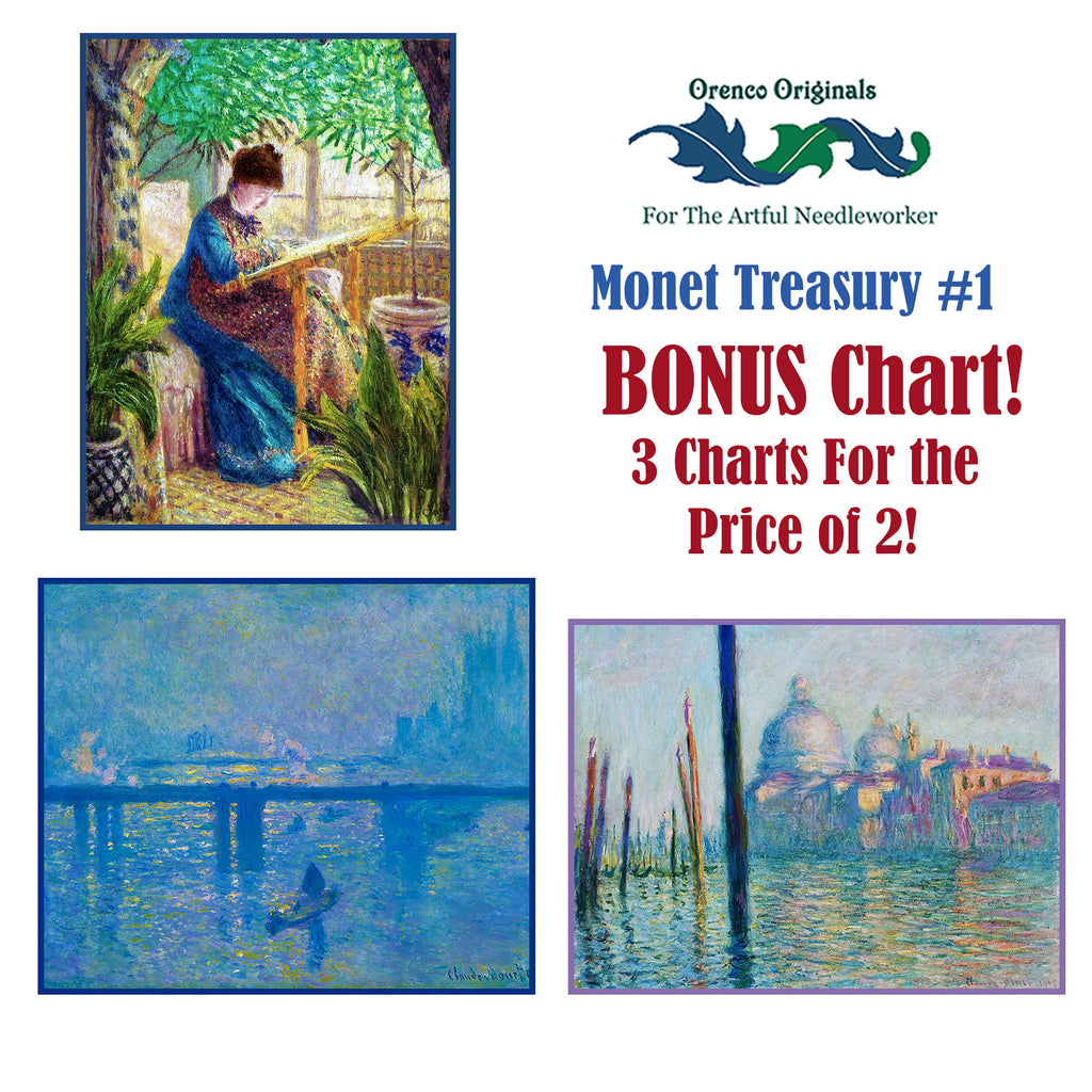 Impressionist Monet Deluxe Treasury #1 -Three Counted Cross Stitch Patterns