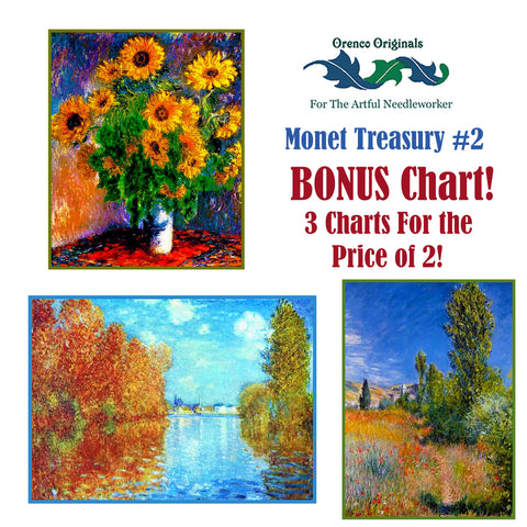 Impressionist Monet Deluxe Treasury #2 -Three Counted Cross Stitch Patterns