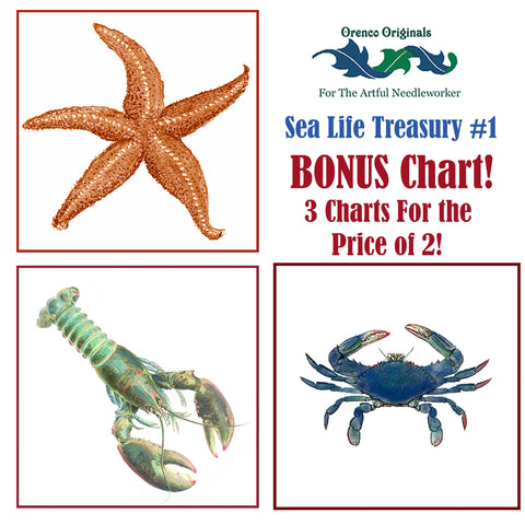 Sea Life Deluxe Treasury #1 -Three Counted Cross Stitch Patterns