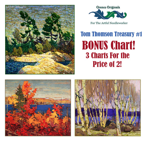 Tom Thomson Deluxe Treasury #1 -Three Counted Cross Stitch Patterns