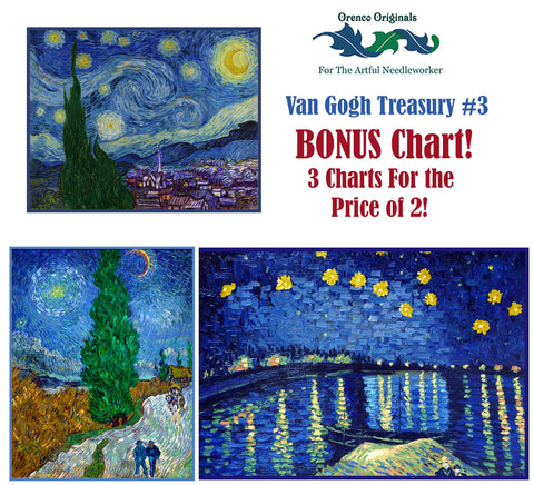 Impressionist Van Gogh Deluxe Treasury #3 -Three Counted Cross Stitch Patterns