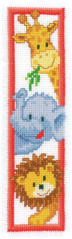 Jungle Animals Bookmark by Vervaco Counted Cross Stitch Kit 2.5