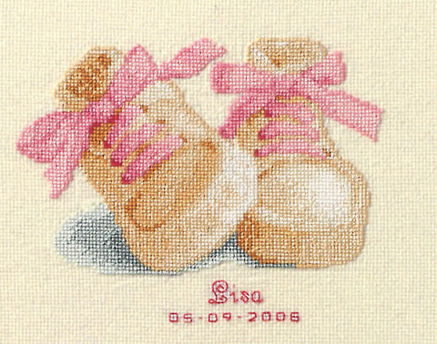 Baby Boots Birth Announcement by Vervaco Counted Cross Stitch Kit 4.25