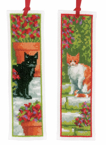 Garden Cats Set of 2 Bookmarks by Vervaco Counted Cross Stitch Kit 2.5