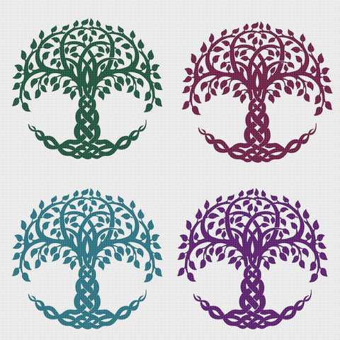 EASY * 2 DMC Colors* Celtic Knot Tree of Life Counted Cross Stitch Pattern
