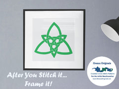 EASY * 2 DMC Colors* Celtic Knot Shamrock Leaf Counted Cross Stitch Pattern