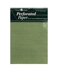 "MILL HILL PERFORATED PAPER-Olive Green- Two 9""x12"" sheets-14 Count"