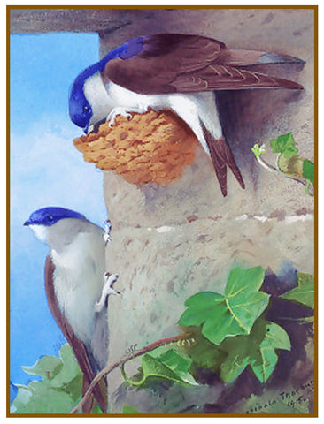 House Martins and Nest in Eaves By Naturalist Archibald Thorburn's Bird Counted Cross Stitch or Counted Needlepoint Pattern
