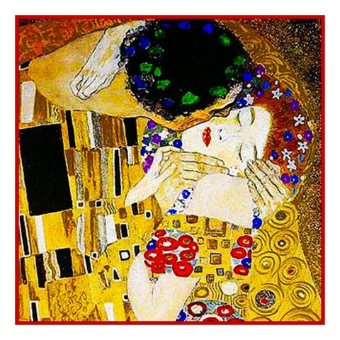 Art Nouveau Artist Gustav Klimt The Kiss detail Counted Cross Stitch Pattern DIGITAL DOWNLOAD