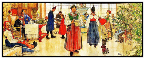 Christmas Celebration Runner God Jul Carl Larsson  Counted Cross Stitch Pattern