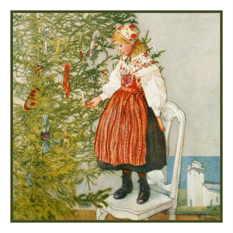 Christmas Confetti by Swedish Artist Carl Larsson Counted Cross Stitch or Counted Needlepoint Pattern - Orenco Originals LLC
