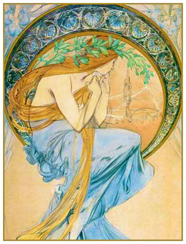 Sketch for The Arts Poetry  by Alphonse Mucha Counted Cross Stitch Pattern