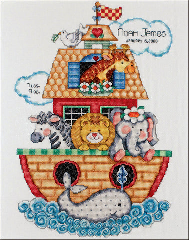 Noah's Ark Birth Record Counted Cross Stitch Kit By Tobin Crafts