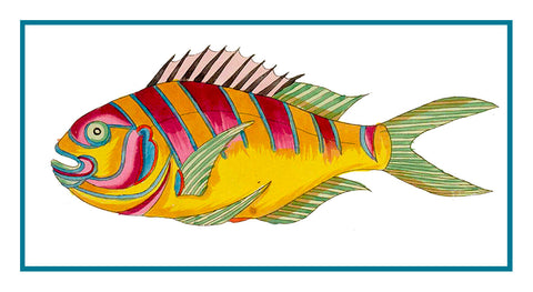 Fallours' Renard's Fantastic Colorful Tropical Fish 6 Counted Cross Stitch Pattern