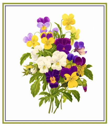 Bouquet of Pansy Flowers Inspired by Pierre-Joseph Redoute Counted Cross Stitch Pattern