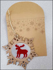 WOOD SNOWFLAKE COUNTED CROSS STITCH FRAME ORNAMENT