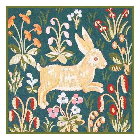 Running Rabbit Detail from the Lady and The Unicorn Tapestries Counted Cross Stitch or Counted Needlepoint Pattern