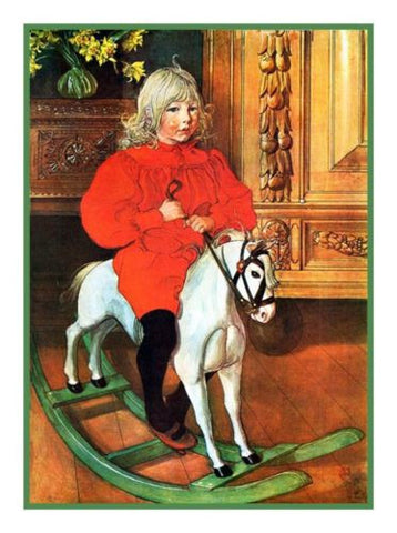 Murre on Rockinghorse by Swedish Artist Carl Larsson Counted Cross Stitch or Counted Needlepoint Pattern