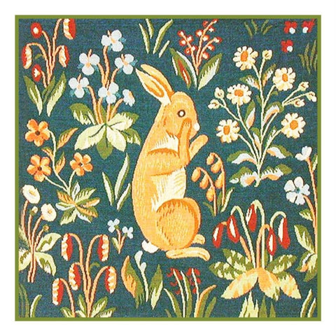 Sitting Rabbit Detail from the Lady and The Unicorn Tapestries Counted Cross Stitch or Counted Needlepoint Pattern