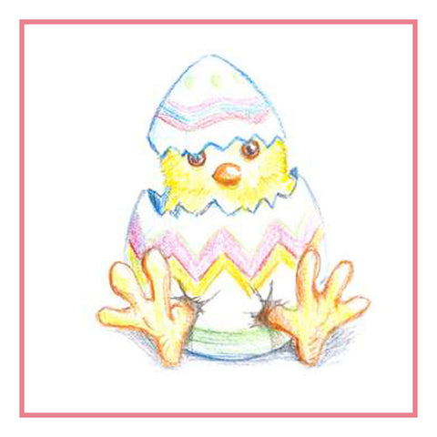 Contemporary Easter Baby Chicks Breaks out of Egg Counted Cross Stitch or Counted Needlepoint Pattern