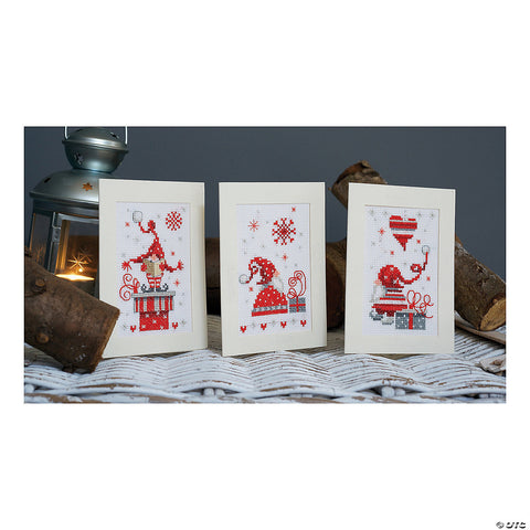 Christmas Gnome Holiday Greeting Cards  by Vervaco Counted Cross Stitch Kit 4.25